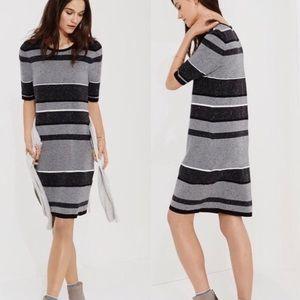 Lou and Grey Striped Black Grey Sweater Dress
